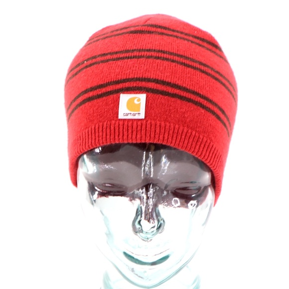 Vintage Carhartt Spell Out Reversible Beanie Red